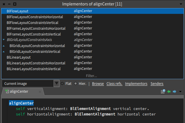 #alignCenter layout implementors